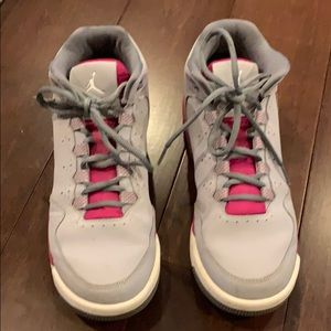 Girls Air Jordan's Grey/magenta great shape!